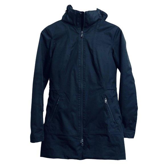 North Face Black Winter Coat w/hood - mid-…